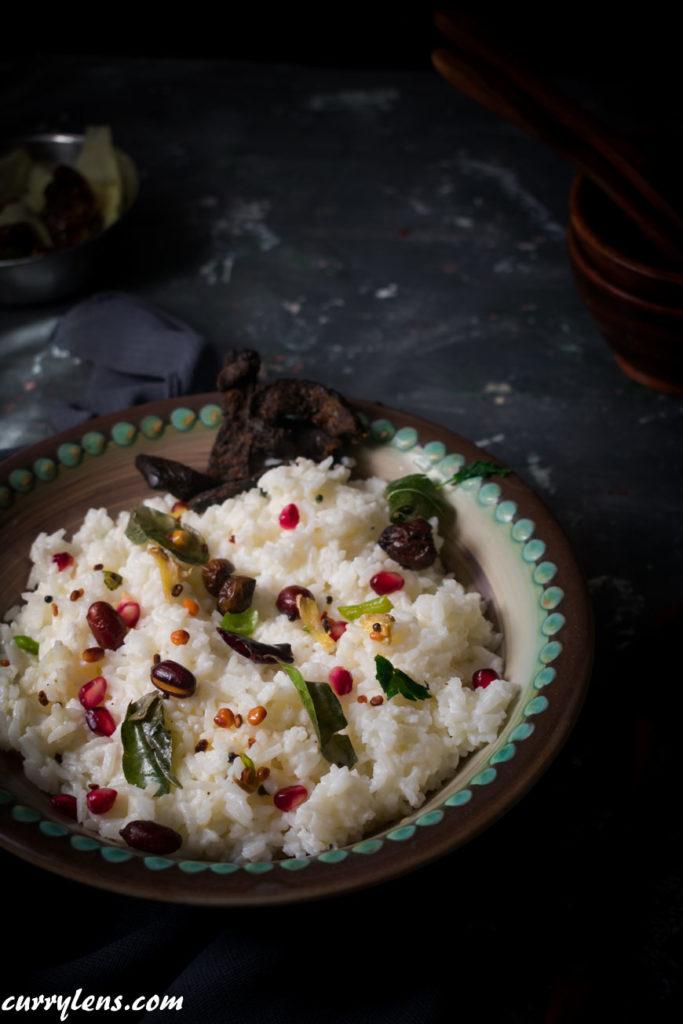 Closeup shot of curd rice (daddojanam)- South Indian style