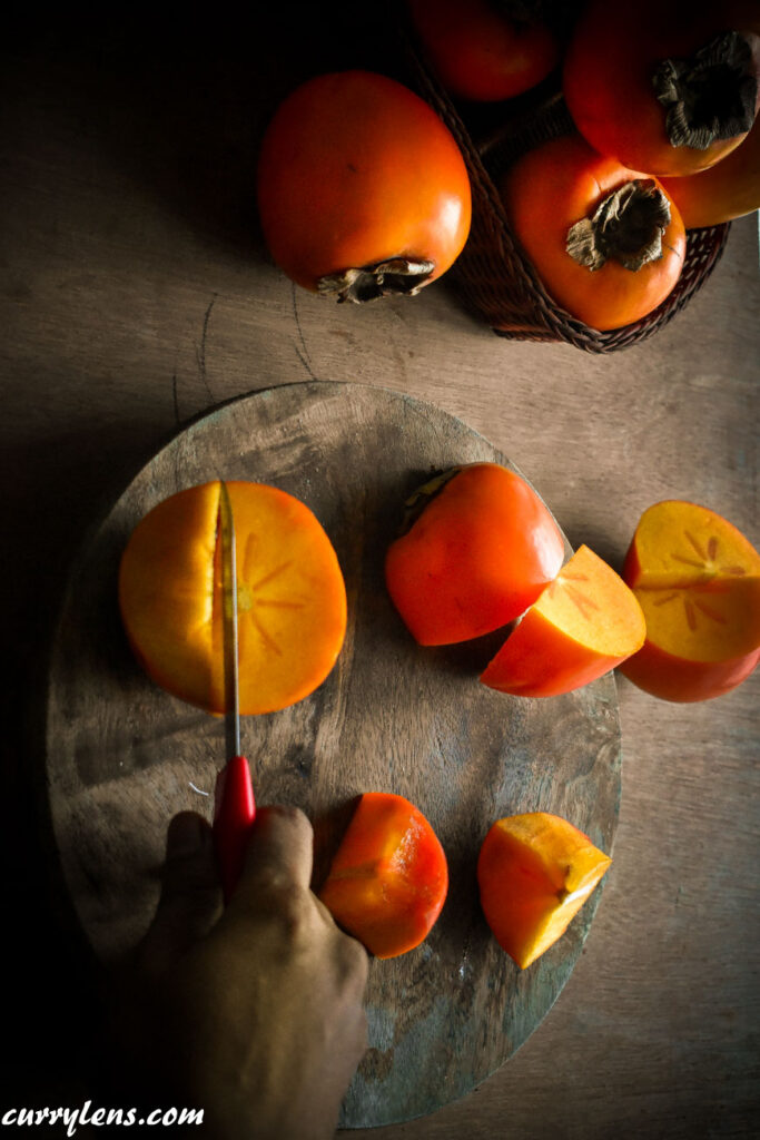 Cutting Riped Persimmons